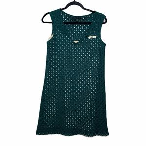 Zara green eyelet dress with nude slip size small